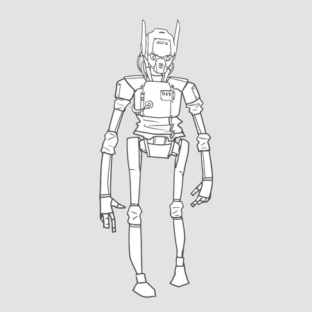 Humanoid robot with artificial intelligence. Contour vector illustration for coloring book, isolated.