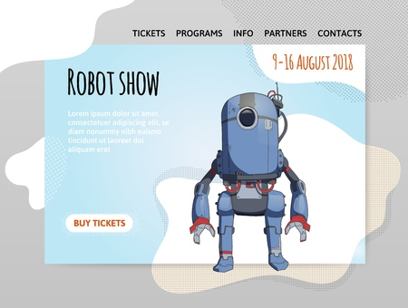 Humanoid robot with artificial intelligence. Robot show Vector illustration, design template of site header, banner or poster.