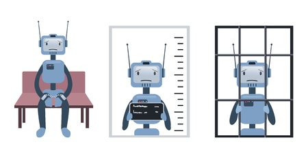 The crimes committed by the robot, and artificial intelligence. Robot on trial and behind bars vector illustration, isolated on white.