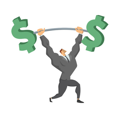 Businessman Lifting Up Barbell with Dollar Sign.
