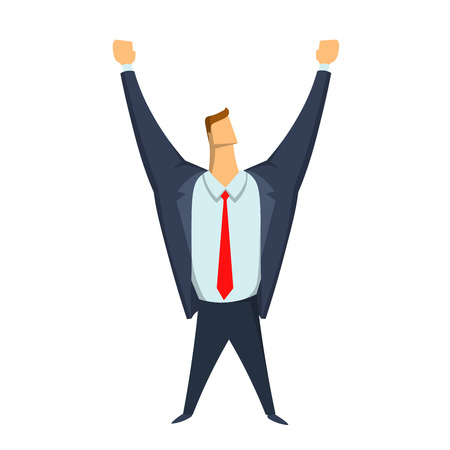Businessman with hands raised, a gesture of success and victory. Happy man. Vector illustration, isolated on white background.