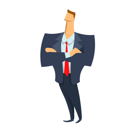 Young businessman standing with crossed arms. Vector character illustration in flat style, isolated on white background.