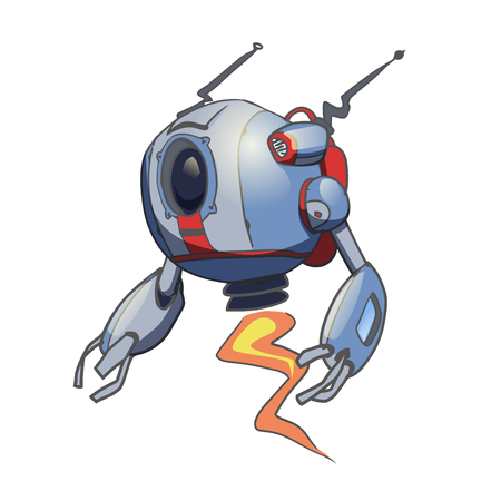 Flying spherical robot. Vector illustration, isolated on white background.
