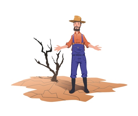 A farmer standing next to a dried dead tree. Concept on the theme of drought, global warming, lack of water for irrigation. Vector illustration, isolated on white background. Ilustração