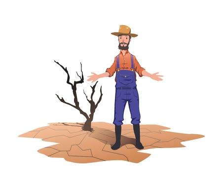 Un agriculteur debout à côté d'un arbre mort séché. Concept sur le thème de la sécheresse, du réchauffement climatique, du manque d'eau pour l'irrigation. Illustration vectorielle, isolée sur fond blanc. Banque d'images - 96903659
