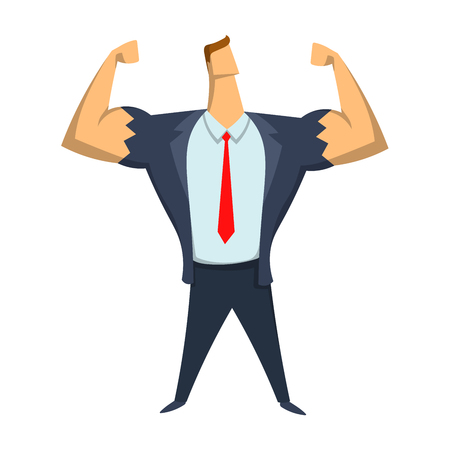 Strong businessman showing biceps. Leadership, self-confidence concept vector illustration, isolated on white background.