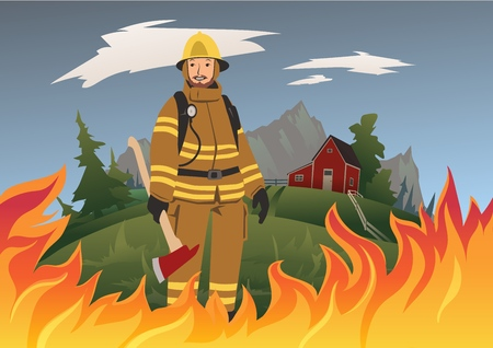 A firefighter with an ax standing in the midst of fire. Vector illustration.
