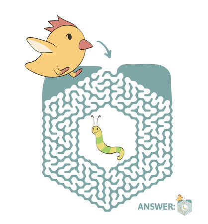 Childrens maze with chicken and worm. Cute puzzle game for kids, vector labyrinth illustration. Illustration
