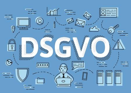 DSGVO, version allemande du RGPD, illustration vectorielle de concept. Règlement général sur la protection des données, la protection des données personnelles.