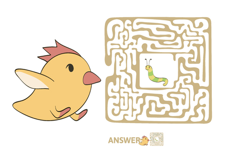 Childrens maze with chicken and worm. Cute puzzle game for kids, vector labyrinth illustration. 向量圖像
