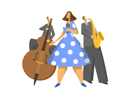 Jazz music trio. Contrabassist, saxophonist and singer on stage. Abstract Vector illustration, isolated on white background 일러스트