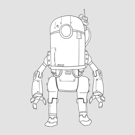 Humanoid robot, android with artificial intelligence. Contour vector illustration, isolated