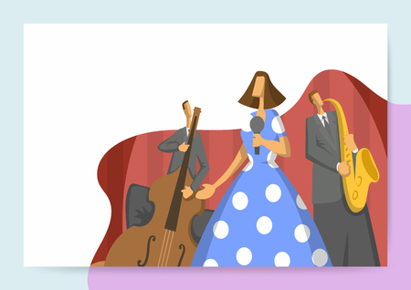Jazz music festival, trio performs at the concert. Vector illutration, design template of music site header, banner or poster.
