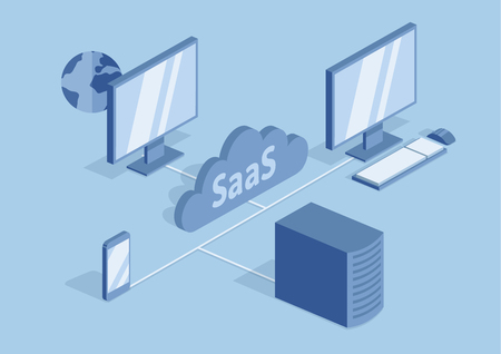 Concept of SaaS, software as a service. Cloud software on computers, mobile devices, codes, app server and database. Vector isometric illustration, isolated on blue background. Illustration