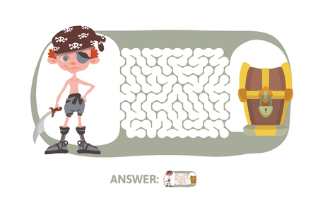 Children's maze with pirate and treasure. Cute puzzle game for kids, vector labyrinth illustration. Vettoriali
