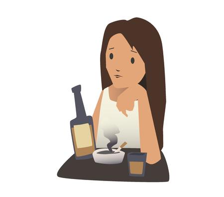 Het meisje zit aan een tafel met een sigaret en een fles alcohol. Vector illustratie, geïsoleerd op een witte achtergrond.