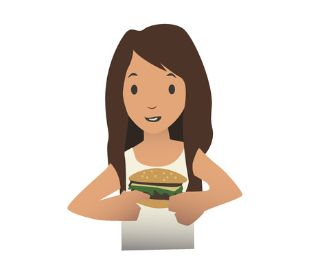 Young girl eating burger, vector illustration, isolated on white background.