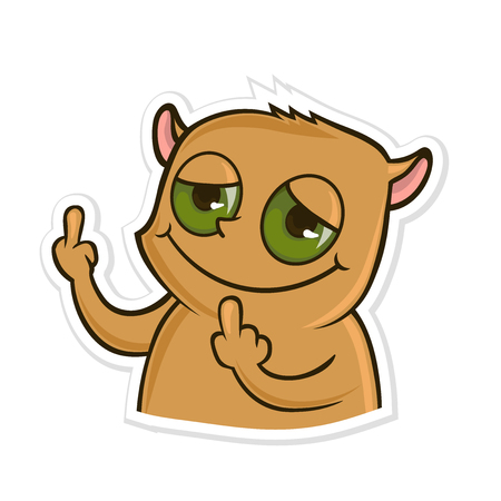 Sticker for messenger with funny animal. Hamster showing Fuck You hand gesture. Middle finger sign. Vector illustration, isolated on white background.