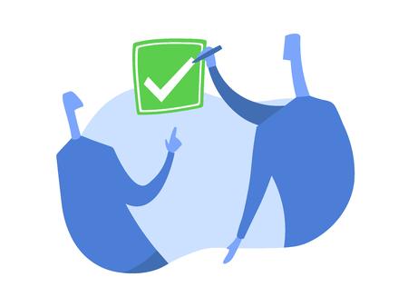 Una persona mette un segno di spunta nella casella. Il simbolo del consenso. Illustrazione vettoriale di concetto, isolato su sfondo bianco.