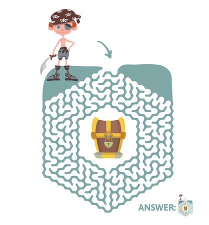 Children maze with pirate and treasure. Cute puzzle game for kids. Vector labyrinth illustration. Vettoriali