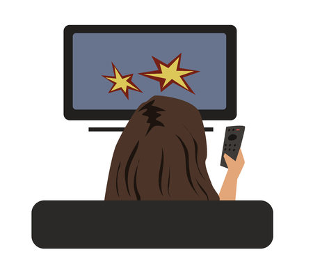 Woman watching TV with remote control in hand, view from behind. Vector illustration, isolated on white background. Illustration