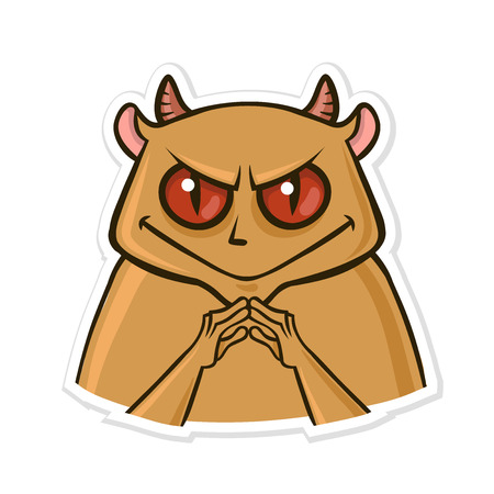 Sticker for messenger with funny animal. Devil hamster is up to something. Vector illustration, isolated on white background.