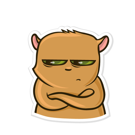 Sticker for messenger with funny animal. Sad pissed off hamster. Vector illustration, isolated on white background.