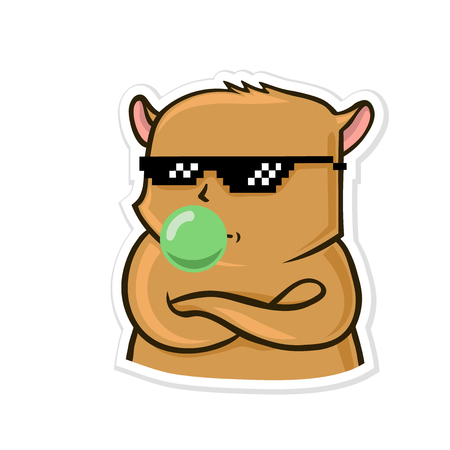 Sticker for messenger with funny animal. Calm hamster in sunglasses inflates gum. Vector illustration, isolated on white background. Ilustração