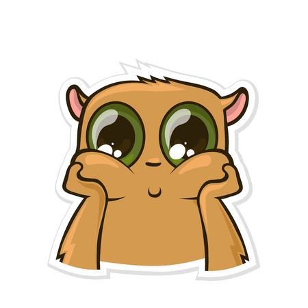 Sticker for messenger with funny animal. Dreamy, pensive hamster. Vector illustration, isolated on white background.