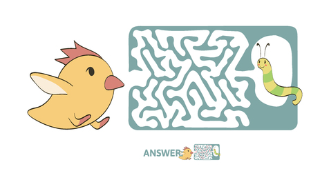 Children's maze with chicken and worm. Cute puzzle game for kids, vector labyrinth illustration.