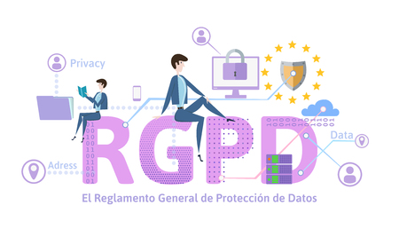 RGPD, german version of GDPR. General Data Protection Regulation. Concept illustration. The protection of personal data. Isolated on white background.