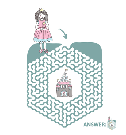Childrens maze with princess and fairy tale castle. Cute puzzle game for kids, vector labyrinth illustration.