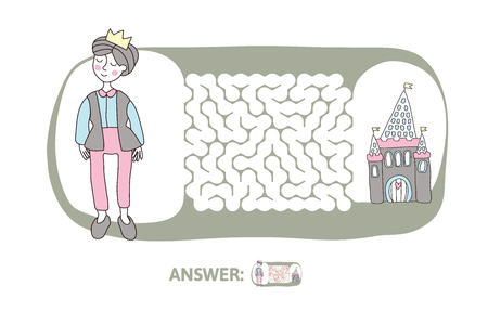 Illustration of a maze with man in a crown with a castle