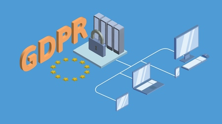 GDPR concept isometric illustration. General Data Protection Regulation. The protection of personal data. Vector, isolated on blue background.