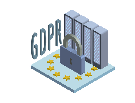 GDPR, concept isometric illustration. General Data Protection Regulation. The protection of personal data. Vector logo, isolated on white background.