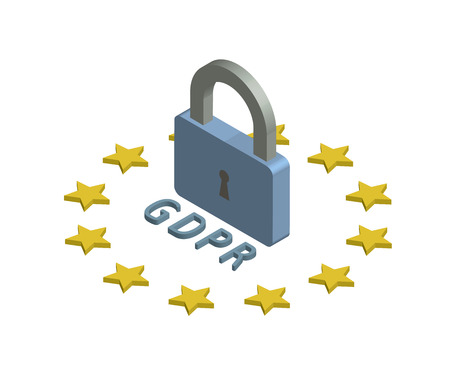 GDPR, concept isometric illustration. General Data Protection Regulation. The protection of personal data. Vector icon, isolated on white background.