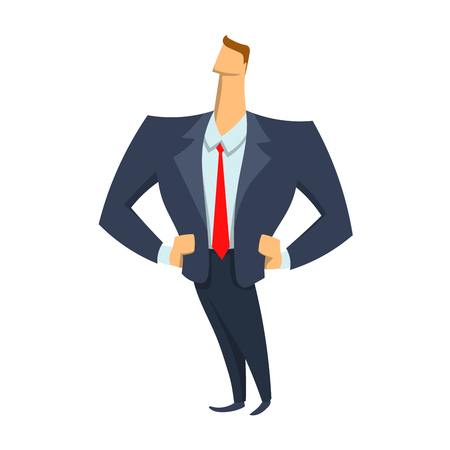 Confident in himself young businessman standing with hands on hips vector character illustration in flat style.