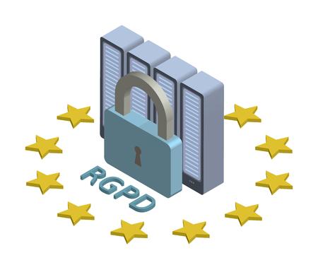 RGPD, Spaanse en Italiaanse versie van GDPR: Regolamento generale sulla protezione dei dati. Concept isometrische illustratie. Algemene verordening gegevensbescherming.