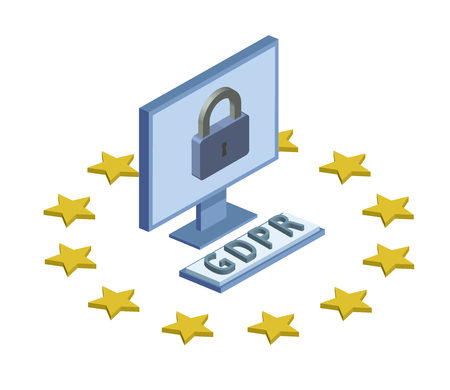 GDPR, concept isometric illustration. General Data Protection Regulation. Protection of personal data. Computer monitor and lock, isolated on white background. Illustration