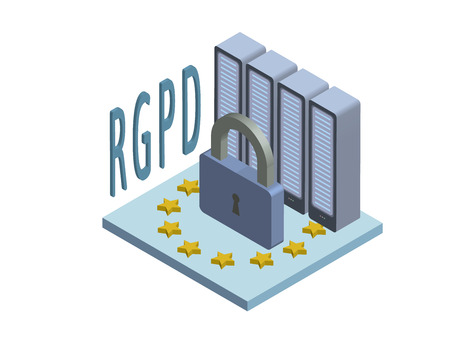 RGPD, Spanish and Italian version version of GDPR: Regolamento generale sulla protezione dei dati. Concept isometric illustration. General Data Protection Regulation. Vector logo, isolated on white background. Ilustracja