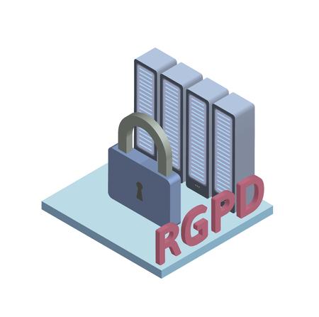 RGPD, Spanish and Italian version version of GDPR: Regolamento generale sulla protezione dei dati. Concept isometric illustration. General Data Protection Regulation. Vector logo, isolated on white. Illustration