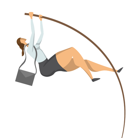 Businesswoman, a woman in a business suit doing pole vaulting. Jump to success, concept vector illustration, isolated on white background. Illustration