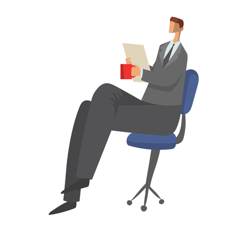 Businessman, man in a business suit sitting on a chair with paper documents in his hands and drinking tea or coffee. Character vector illustration, isolated on white background.