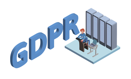GDPR concept isometric illustration. General Data Protection Regulation. The protection of personal data. Vector logo, isolated on white background. Illustration