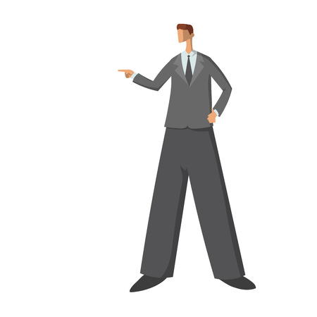 Businessman showing or pointing something beside of him. Abstract style flat illustration, isolated on white background.