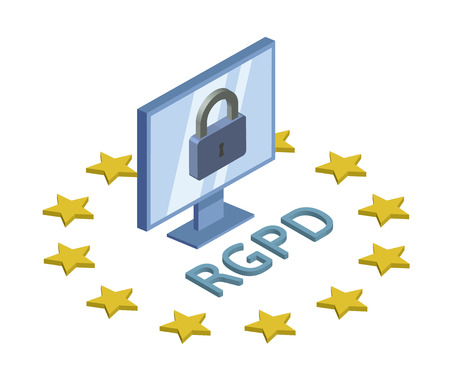 RGPD, version espagnole, française et italienne du RGPD. Règlement général sur la protection des données. Illustration de logo isométrique concept. La protection des données personnelles. Isolé sur fond blanc.