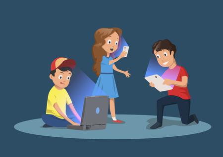 Dependencia de gadgets para niños. Niños con dispositivos electrónicos. Ilustración de vector de dibujos animados, aislado sobre fondo azul oscuro. Ilustración de vector