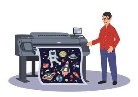 한 남자가 대형 플로터에 인쇄합니다. 인쇄 작업자. 벡터 일러스트 레이 션, 흰색 배경에 고립