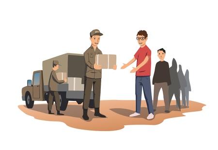 Militares o voluntarios distribuyen cajas con ayuda humanitaria. La distribución de alimentos y necesidades básicas. Ilustración de vector, aislado sobre fondo blanco.