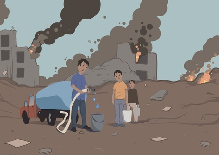Distribution of water to the victims of the military conflict, humanitarian aid. Water scarcity. Vector illustration. Illustration